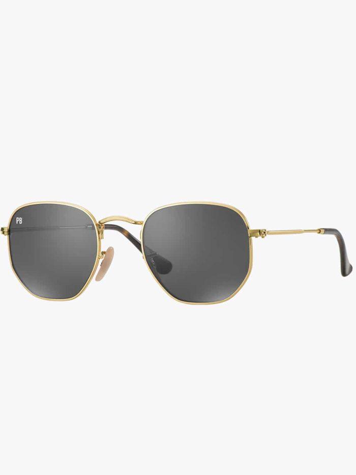 zeshoek bril zwart goud