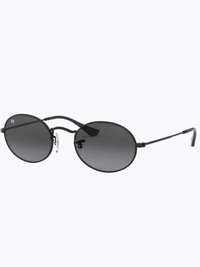 Ovale Vintage zonnebril zwart