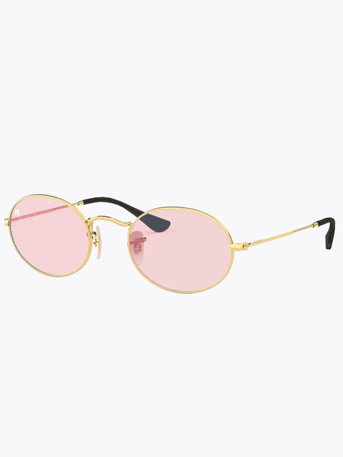 Oval zonnebril met roze glazen transparant
